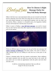 How To Choose A Right Massage Parlor for Sexy Full Body Massage.pdf